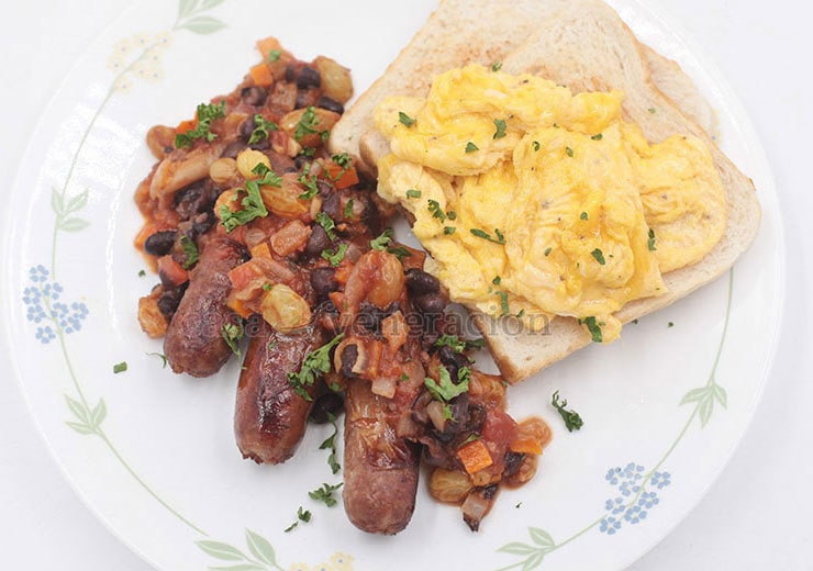 Sausages and Eggs for Breakfast? Add Black Bean Salsa for a New Look and Taste.
