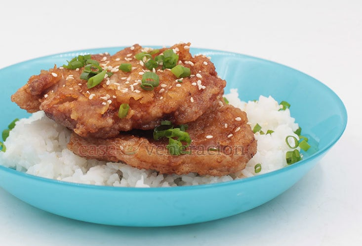 These Asian-style pork chops were cooked a la Japanese chicken nanban