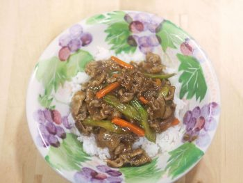 Marinated slices of beef are stir fried with celery and carrot then tossed with thickened and sweetened soy sauce. Beef and celery stir fry is easy to cook and perfect over rice.