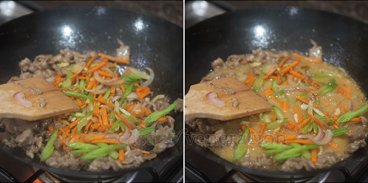 Beef and Celery Stir Fry Recipe: Combine beef and vegetables and add sauce