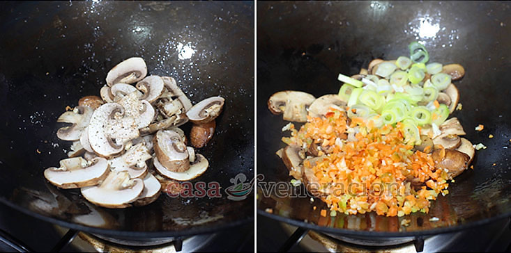 Cauliflower Mushroom Fried Rice Recipe: Saute sliced button mushrooms with chopped carrot, bell pepper and scallions.