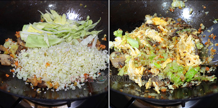 Cauliflower Mushroom Fried Rice Recipe: Add the grated cauliflower and sliced cabbage.