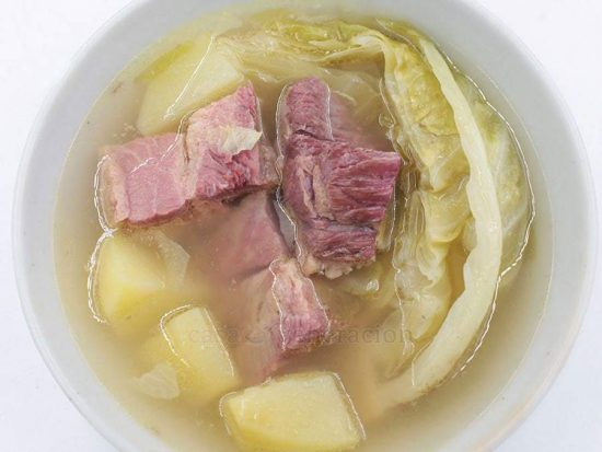 An epicurean Irish-American dish, corned beef, cabbage and potato soup was traditionally served on St. Patrick's Day, Thanksgiving and Christmas.