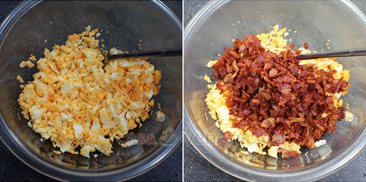 The ultimate egg salad sandwich, step 1: Chop boiled eggs and add crispy bacon