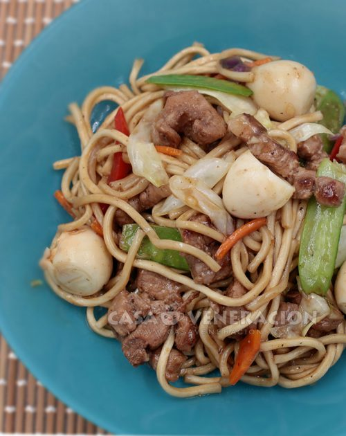 Pancit Canton with Pork, Vegetables and Quail Eggs