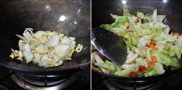 Shrimp Chow Mein Recipe, Step 1: Saute the aromatics; stir fry the vegetables