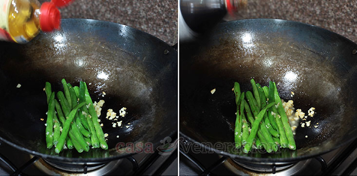 Soy Garlic Green Beans Recipe, Step 2: Pour in rice wine and soy sauce
