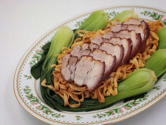 Five-spice Braised Pork Belly With Noodles and Bok Choy