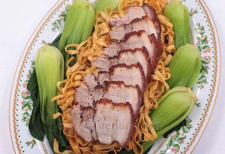 Five-spice Braised Pork Belly With Noodles and Bok Choy Recipe