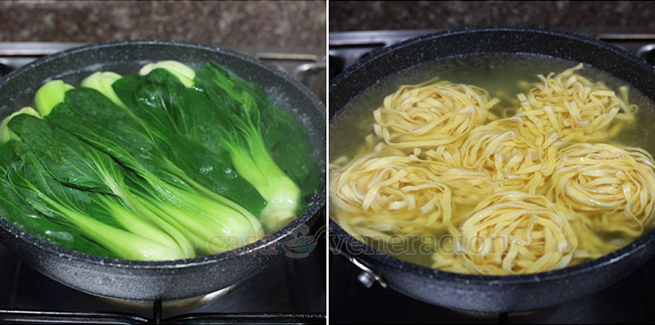 How To Cook Five-spice Braised Pork Belly With Noodles and Bok Choy, Step 3: Blanch the bok choy and boil the egg noodles