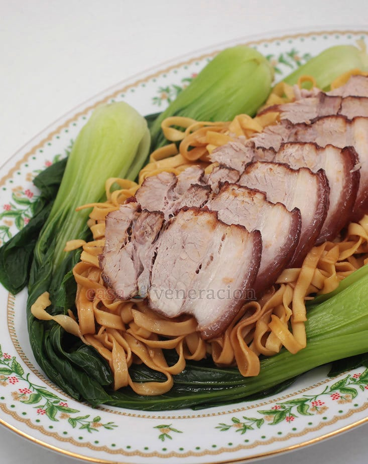 Birthday noodles? Try Five-spice Braised Pork Belly With Noodles and Bok Choy