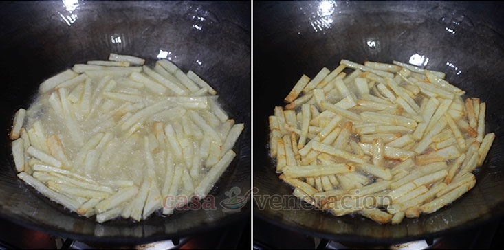Revuelto Gramaho Recipe, Step 1: Cut potatoes into sticks and fry until golden and crisp