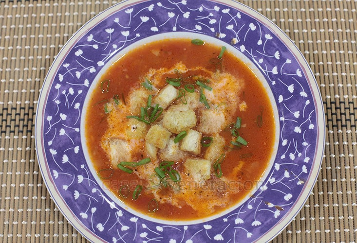 Tomato Soup With Herbed Croutons Recipe