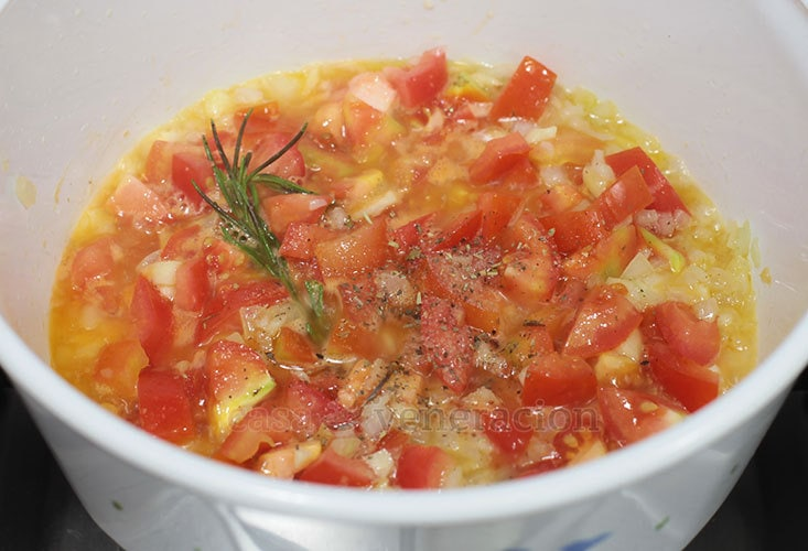 Tomato Soup With Herbed Croutons Recipe, Step 3: Cook until the vegetables are soft and the mixture is quite dry.