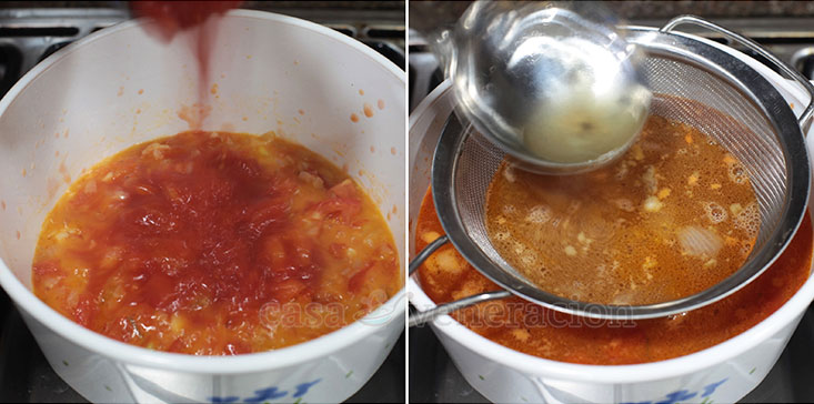 Tomato Soup With Herbed Croutons Recipe, Step 4: Pour in a can of diced tomatoes and bone broth.