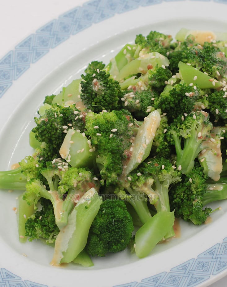Don't waste money! Cook broccoli florets and stems together for more food on your plate.