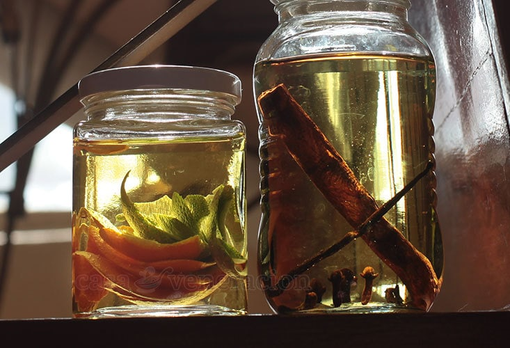 Making scented oil with lime and lemon peel