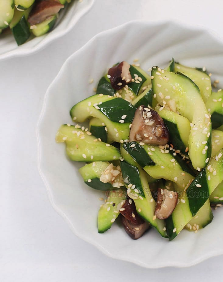 Yes, cucumber can be stir fried! Sprinkle with salt, rinse and drain before cooking this delicious vegan shiitake and cucumber stir fry.