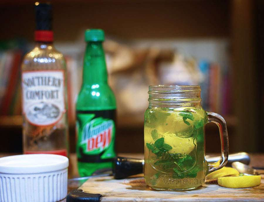 Southern Comfort and Mountain Dew Cocktail