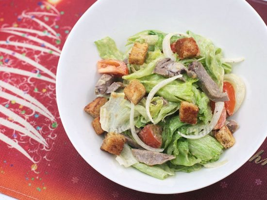 Beef Tongue Salad With Herbed Croutons