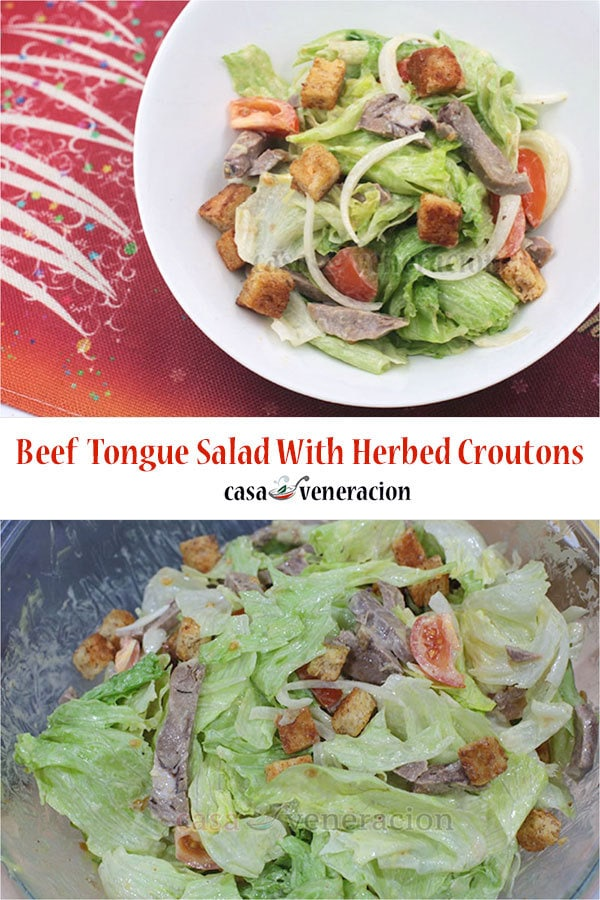 Beef Tongue Salad With Herbed Croutons. A Festive Holiday Starter Course!