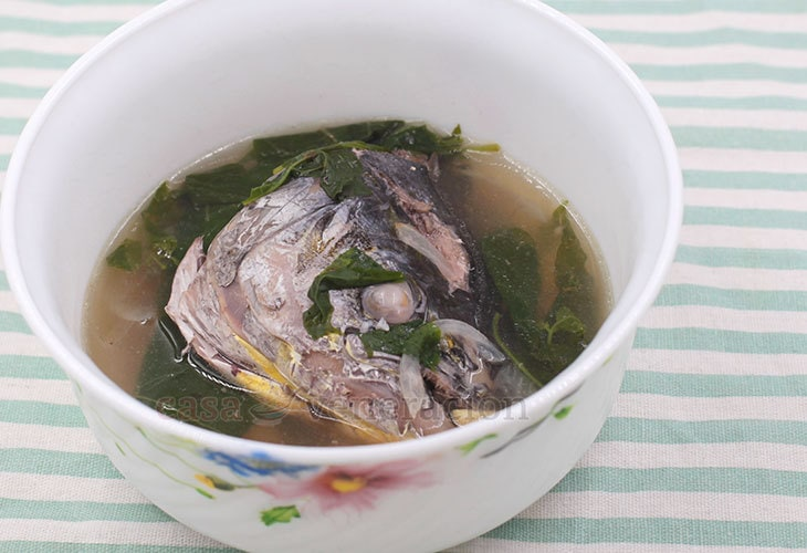 Gingered Fish Head Soup With Chili Leaves