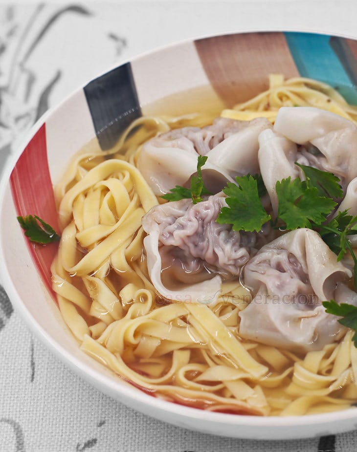 The best wonton noodle soup is made with bone broth