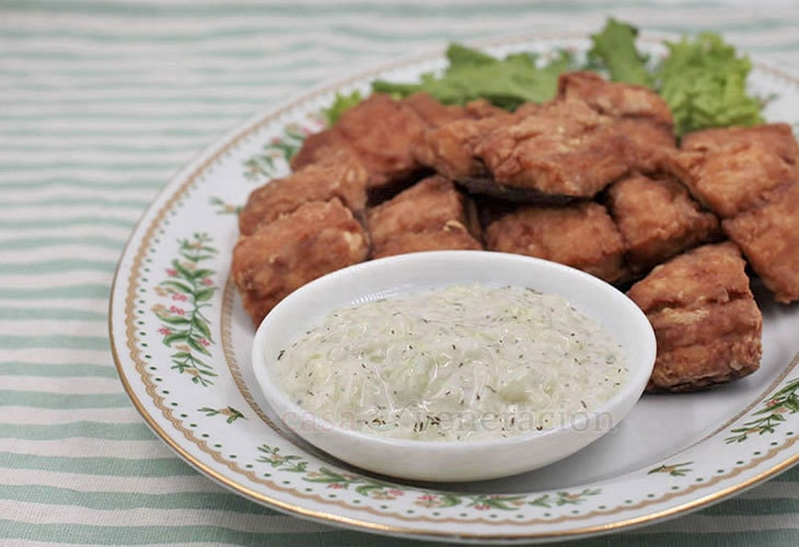 What's For Dinner? Fried Fish With Tangy Yogurt and Cucumber Sauce.
