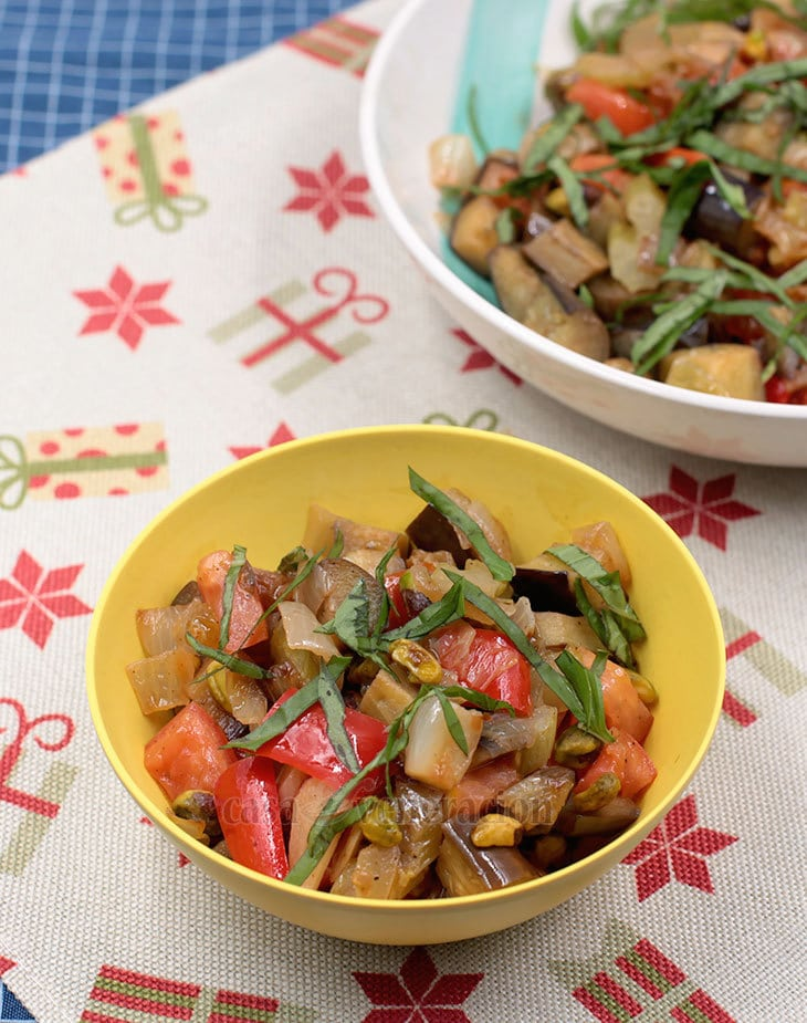 Easy caponata recipe with pistachio nuts