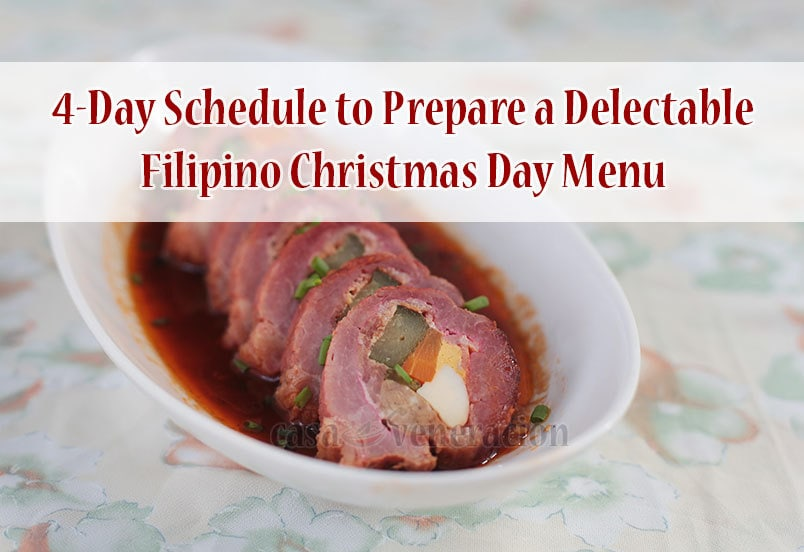 Four-Day Schedule to Prepare a Delectable Christmas Day Menu