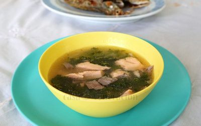 Salmon and spinach soup