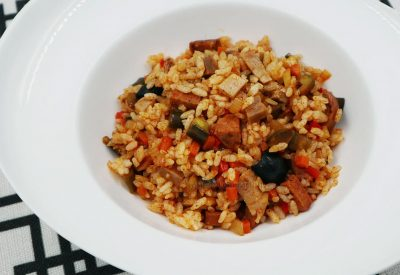 Paprika Rice With Grilled Pork and Italian Garlic Sausages