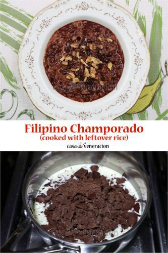 Double chocolate Filipino champorado cooked with leftover rice