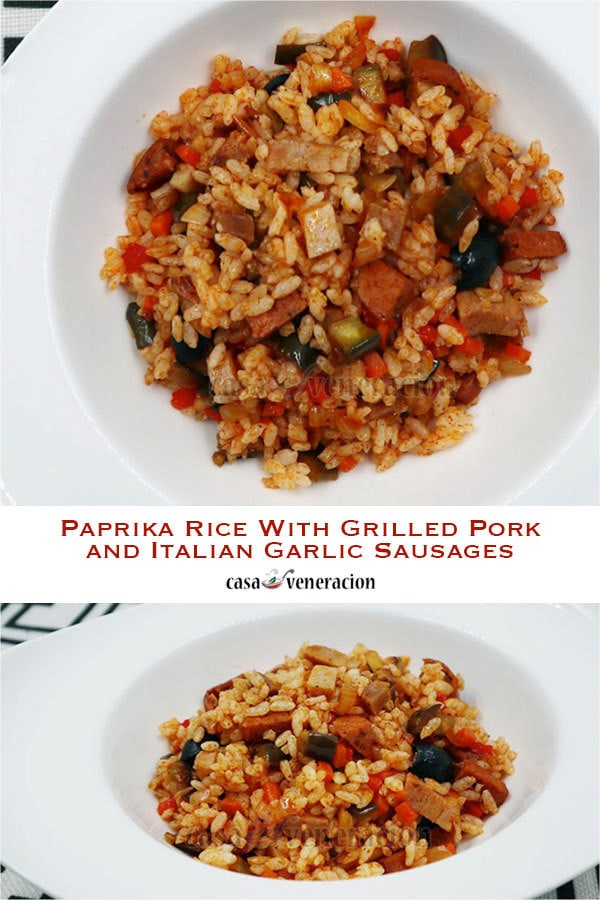 Cooking with holiday leftovers: Paprika Rice With Grilled Pork and Italian Garlic Sausages
