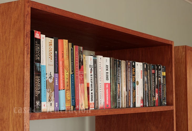 Books on a shelf in my home office