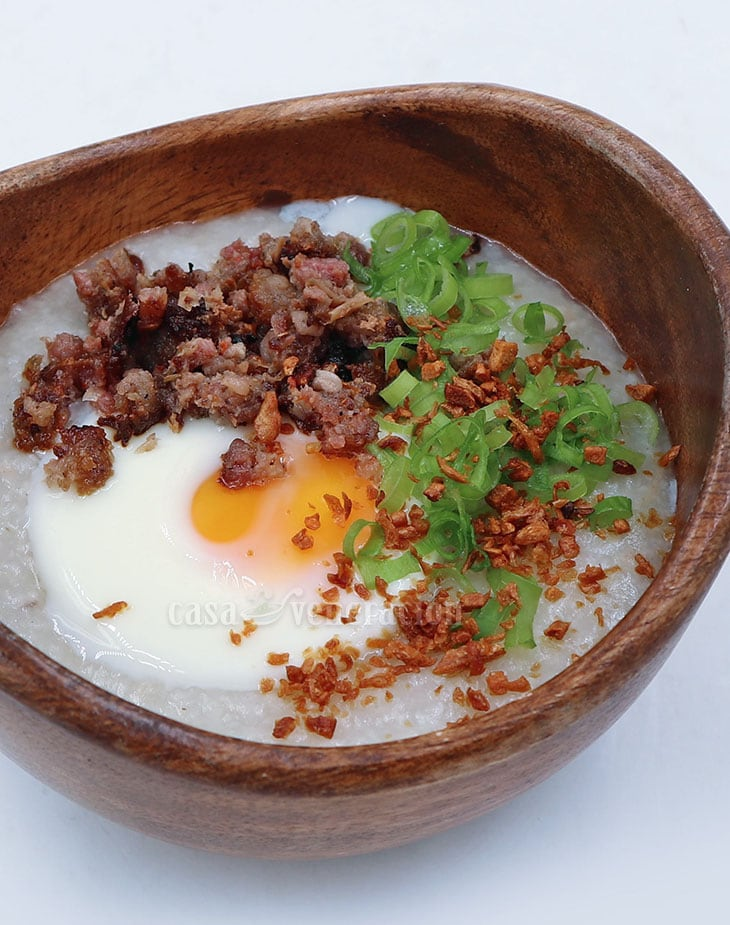 Slow Cooker Congee With Sausage and Egg Recipe