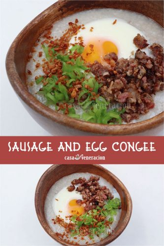 Slow Cooker Congee With Sausage and Egg for Breakfast!
