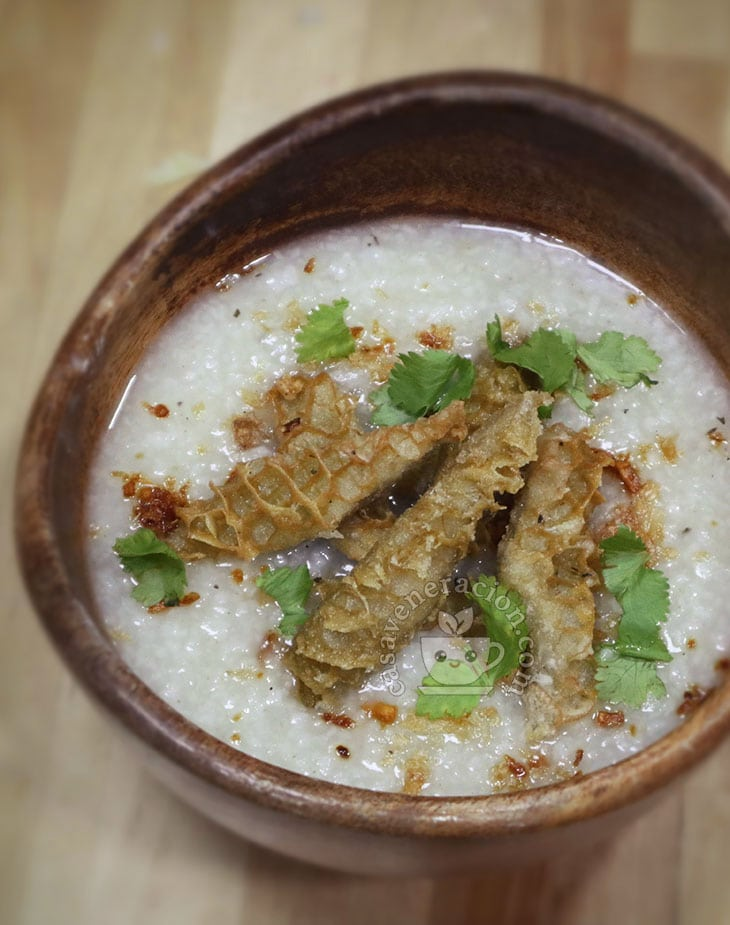 Slow Cooker Congee with Fried Crispy Beef Tripe Recipe