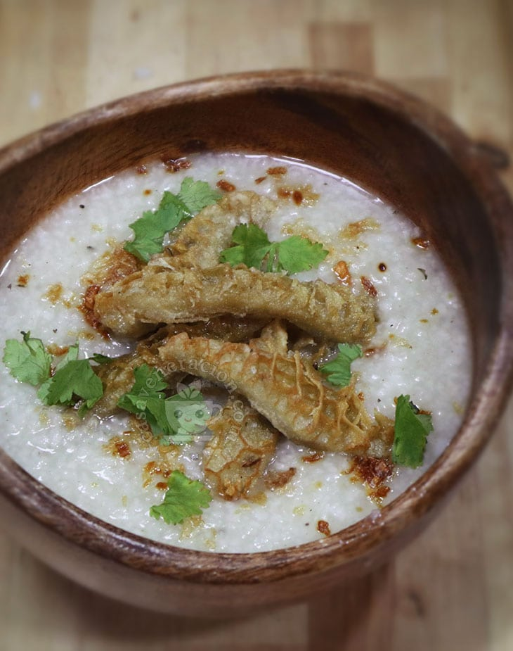 Slow Cooker Congee with Fried Crispy Beef Tripe