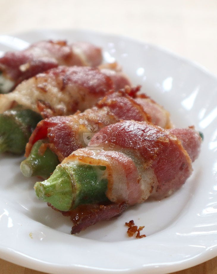 Cheese-stuffed and Bacon-wrapped Okra Recipe