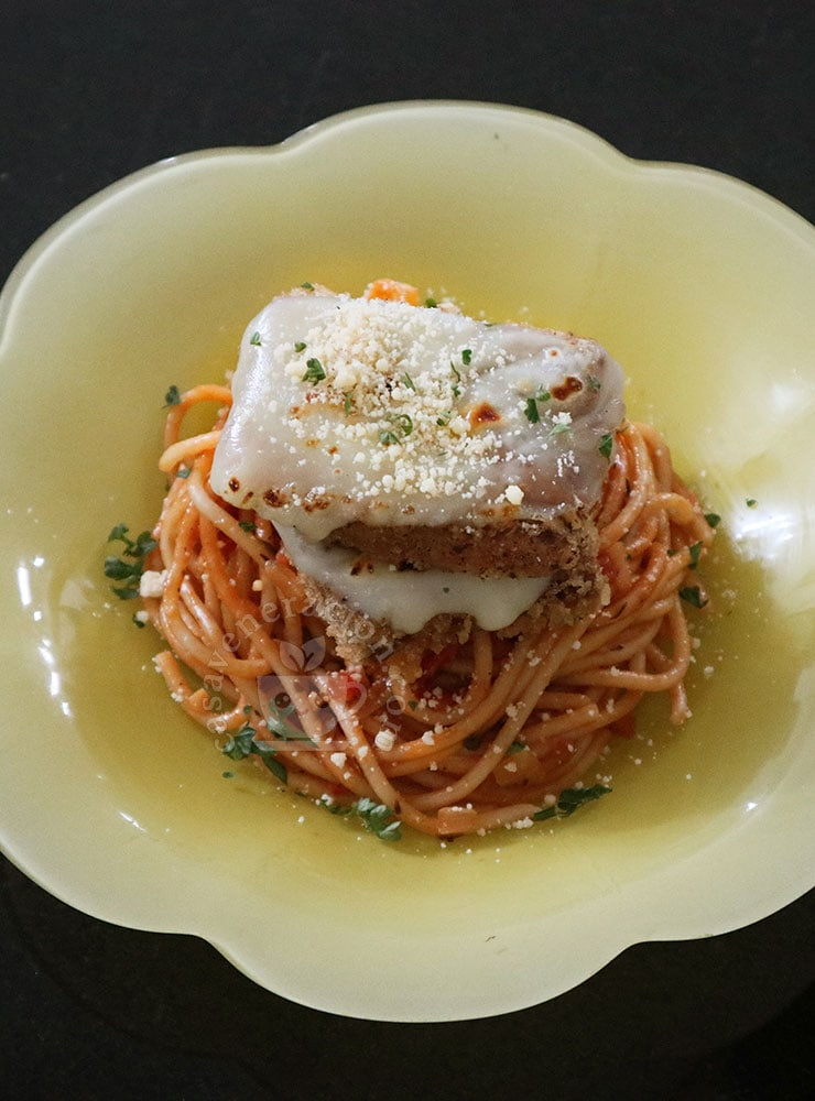 How to Make Cheese-y Eggplant Katsu and Spaghetti