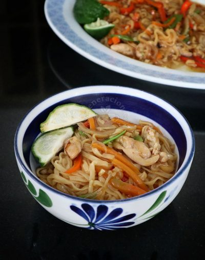 Chicken chow mein cooked with instant noodles