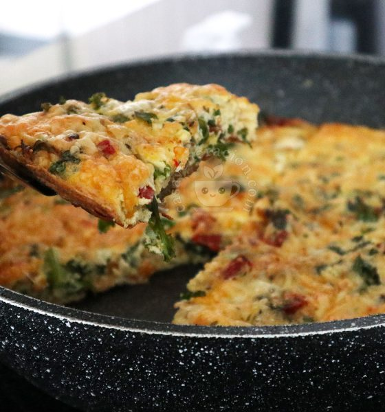 Kale Frittata With Salami and Parmesan