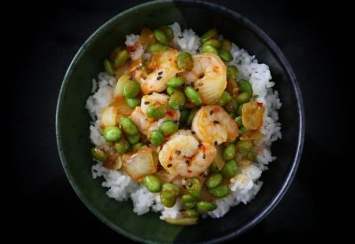 Spicy Shrimp and Edamame Stir Fry