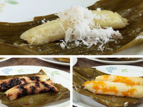 Suman (Filipino sticky rice cake): plain, with chocolate and with fruit