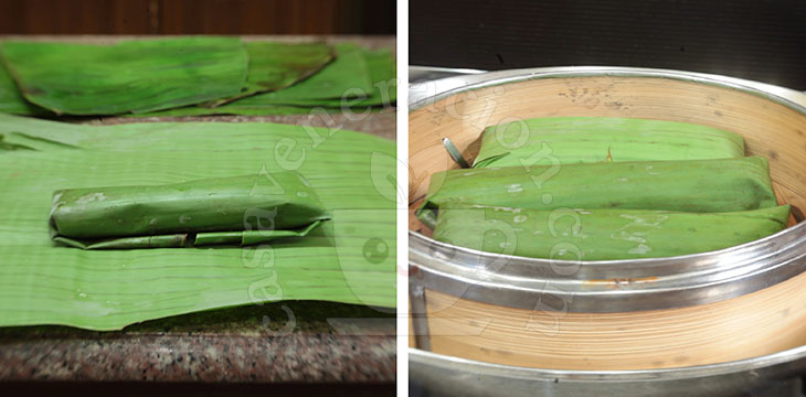 Suman (Filipino sticky rice cake): wrapped in banana leaves and steamed