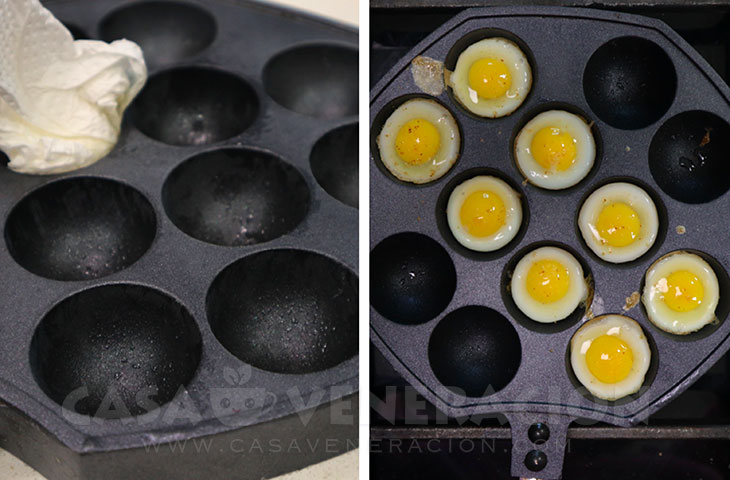 Frying quail eggs in a takoyaki pan