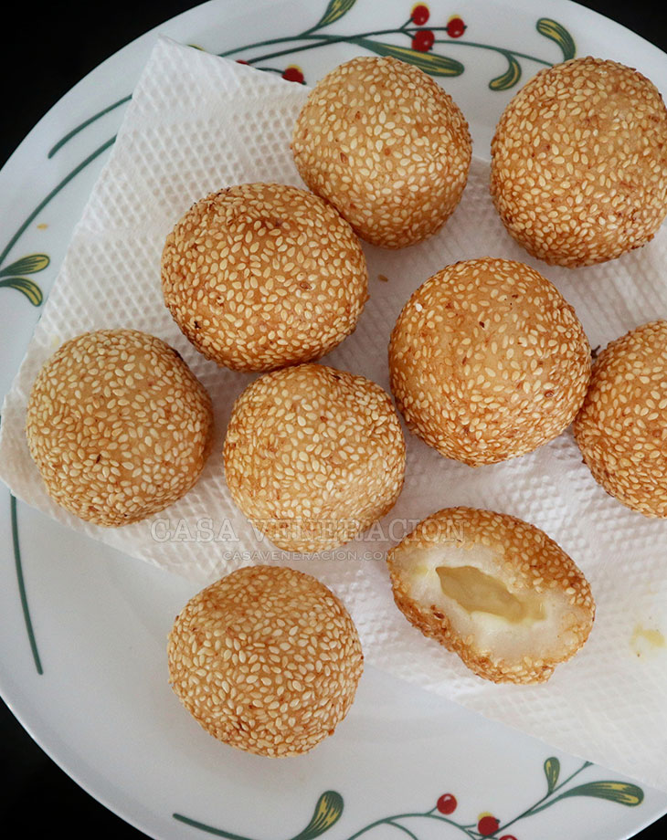 Buchi (sesame seed balls) with cheese filling
