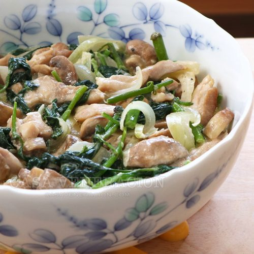 Chicken, mushrooms and spinach in sour cream