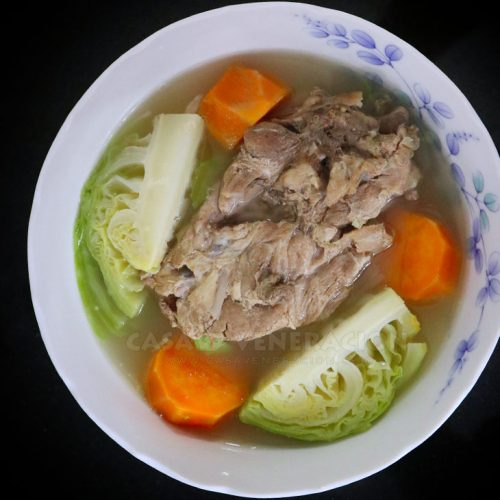 Soup with boiled pork ribs, cabbage and sweet potatoes